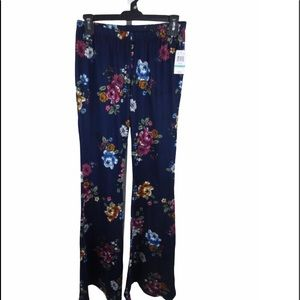 Polly & Esther Womens Floral Flare Leg Pants
